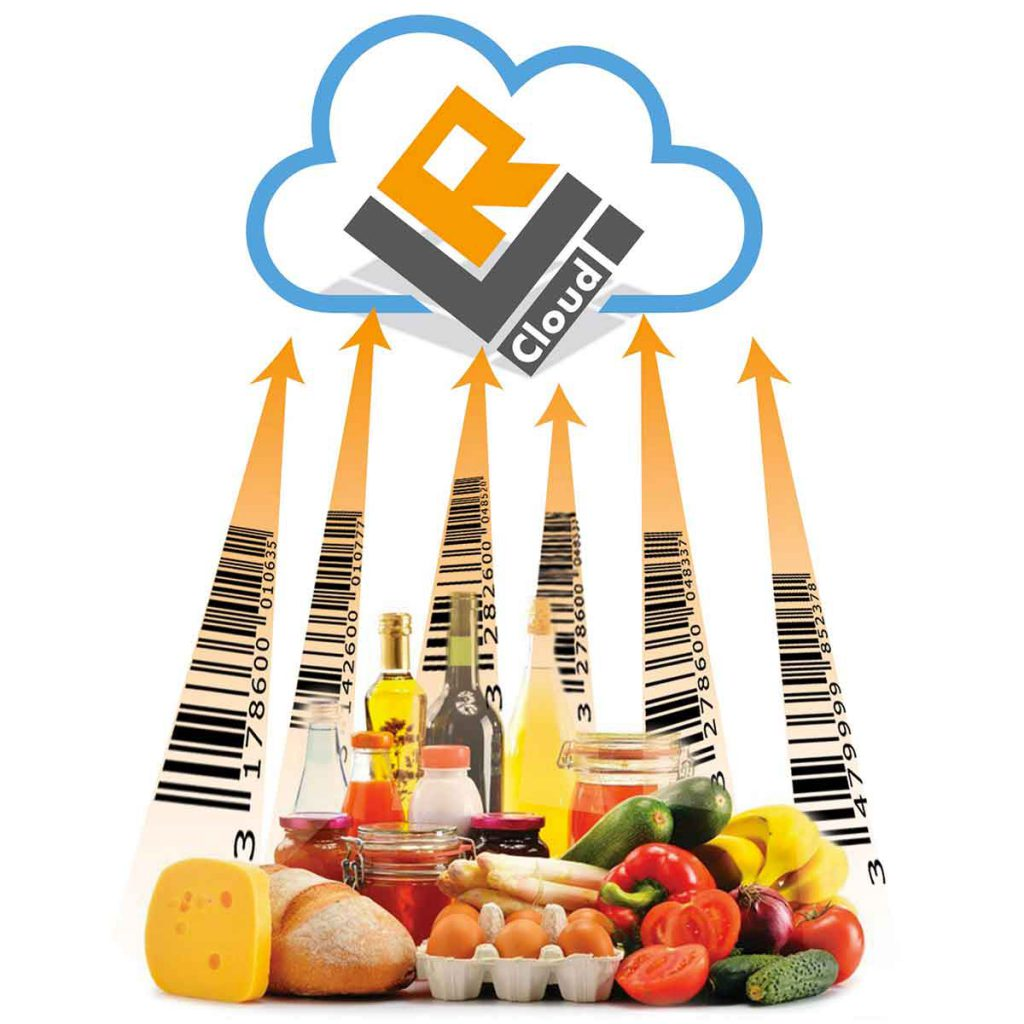 code-barres aliments monte vers cloud pour stockage