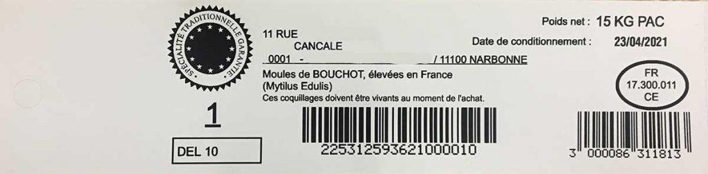 étiquette imprimée avec logiciel ostréicole