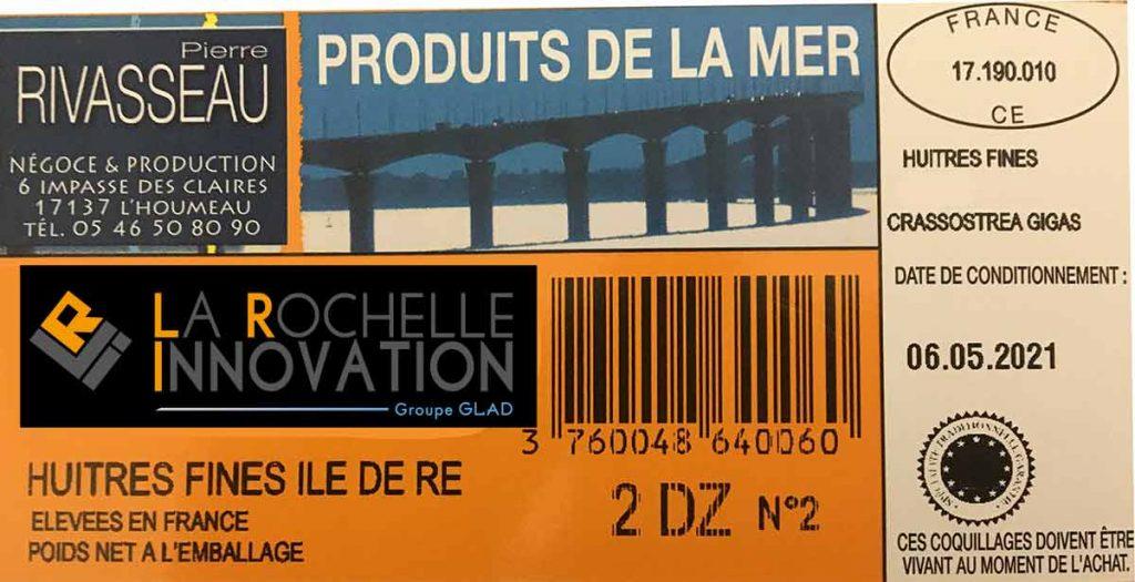 étiquette code-barres imprimée avec logiciel ostréicole