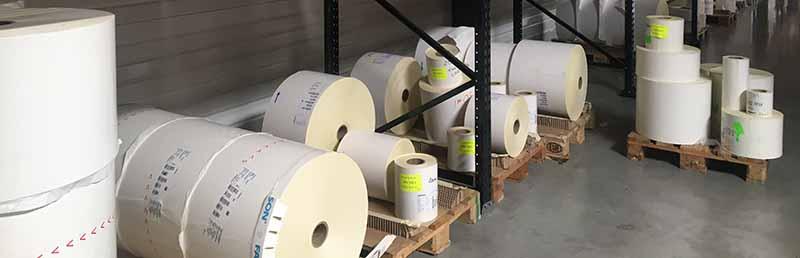 stockage de rouleaux d'étiquettes linerless