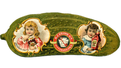 ancienne étiquette en forme de cornichon